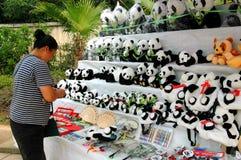 chengdu porslinpanda som säljer den välfyllda toyskvinnan Royaltyfri Fotografi