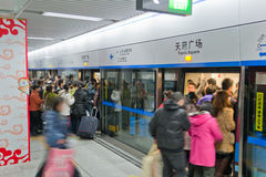 Chengdu, Porzellan: Hauptverkehrszeit an der Untergrundbahn Stockfoto