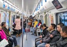 Chengdu, Porzellan: innere Ansicht der Metros Lizenzfreie Stockfotos