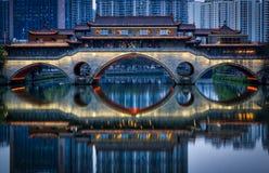 Chengdu`s Anshun Bridge Just Turned on its Lights Stock Photography