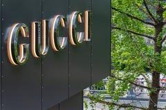 Gucci logo on a bulding in Taikooli Chengdu. Chengdu, Sichuan Province, China - April 18, 2018 : Gucci logo on a bulding in Taikooli royalty free stock images