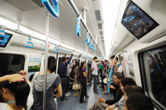 Chengdu subway  interior Stock Photos