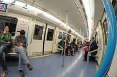 Chengdu subway  interior. Chengdu subway, Chengdu metro line 1 Royalty Free Stock Images