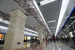 Chengdu subway station corridor Stock Photo