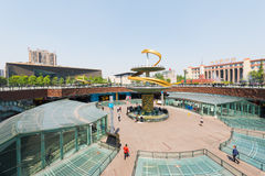 Chengdu Tianfu square with blue sky. Chengdu, Sichuan Province, China - Apr 13, 2017: Tianfu square Central place in Chengdu with blue sky royalty free stock image