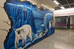 Chengdu tunnelbanalinje 3 gångtunneldrev Arkivbilder