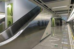 Chengdu tunnelbanalinje 3 gångtunneldrev Arkivfoto