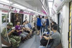 Chengdu tunnelbanalinje 3 gångtunneldrev Royaltyfri Foto