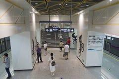 Chengdu tunnelbanalinje 3 gångtunneldrev Royaltyfri Fotografi
