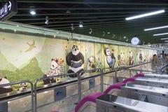Chengdu tunnelbanalinje 3 gångtunneldrev Royaltyfria Bilder
