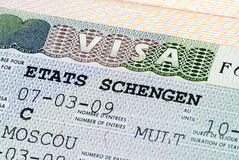 Chengen visa. In Russian passport Royalty Free Stock Photography