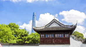 Chenghuangmiao street with travelers and pagoda style buildings. royalty free stock images
