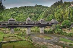 Chengyang Wind and Rain Bridge. Minority village of Chengyang and its famous old  Wind and Rain Bridge Royalty Free Stock Images