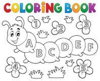 Chenille de livre de coloriage avec des lettres illustration libre de droits