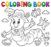 Chenille heureuse 1 de livre de coloriage Photo stock