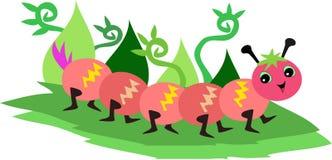 Chenille mignon marchant dans un jardin illustration de vecteur