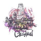 Chennai abstrakcjonistycznego koloru rysunkowa ilustracja odizolowywająca na białym tle ilustracji
