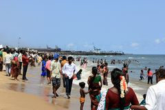 Chennai Beach. The photo shows a typical Indian beach scene on Chennai Beach, a huge city beach in the center of Chennai. Chennai is the capital of the state stock photography