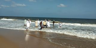 Chennai beach view with the waves royalty free stock photo