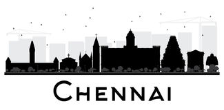 Chennai City skyline black and white silhouette. Stock Photography