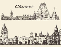 Chennai engraved illustration hand drawn sketch Stock Photos