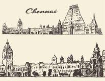 Chennai gegraveerde illustratiehand getrokken schets Stock Foto's