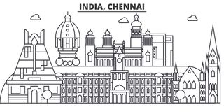 Chennai, India architecture line skyline illustration. Linear vector cityscape with famous landmarks, city sights Royalty Free Stock Image