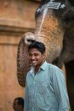 CHENNAI, INDIA 13 FEBBRAIO: Benedizione dall'elefante dell'India sulla F Immagine Stock Libera da Diritti