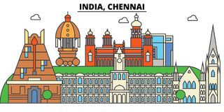 Chennai, India, Hinduism. City skyline, architecture, buildings, streets, silhouette, landscape, panorama, landmarks. Chennai, India, Hinduism. City skyline stock illustration
