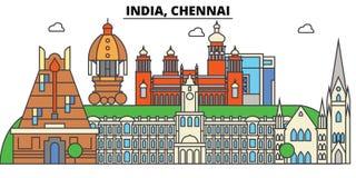 Chennai, India, hinduizm Miasto linia horyzontu, architektura, budynki, ulicy, sylwetka, krajobraz, panorama, punkty zwrotni ilustracji
