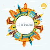 Chennai India linia horyzontu z kolorów punktami zwrotnymi, niebieskim niebem i kopii Sp, ilustracji