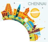 Chennai India linia horyzontu z kolorów punktami zwrotnymi, niebieskim niebem i kopii Sp, ilustracja wektor