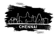 Chennai India miasta linii horyzontu sylwetka Ręka rysujący nakreślenie ilustracji