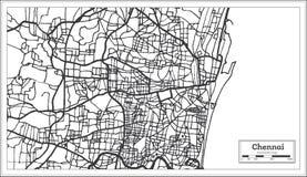 Chennai India miasta mapa w Retro stylu Czarny i biały wektorowa ilustracja ilustracji