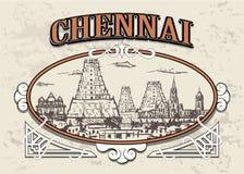 Chennai linia horyzontu, India, w dekoracyjnej rocznik ramie, retro ręka rysująca ilustracja wektor