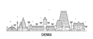 Chennai linia horyzontu tamil nadu India miasta wektoru linia royalty ilustracja