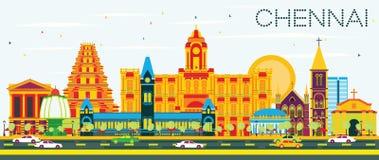 Chennai linia horyzontu z koloru niebieskim niebem i punktami zwrotnymi ilustracja wektor