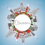 Chennai linia horyzontu z Szarą punktów zwrotnych, niebieskiego nieba i kopii przestrzenią, ilustracji