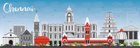 Chennai linia horyzontu z Szarymi punktami zwrotnymi i niebieskim niebem royalty ilustracja