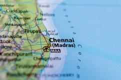 Chennai lub Madras na mapie obraz stock