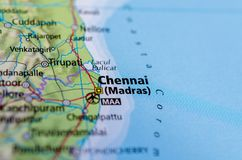 Chennai or Madras on map. Close up shot of Chennai. is the capital of the Indian state of Tamil Nadu stock image
