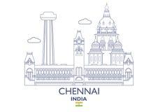 Chennai miasta linia horyzontu, India ilustracja wektor