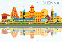 Chennai Skyline with Color Landmarks, Blue Sky and Reflections. Stock Photography