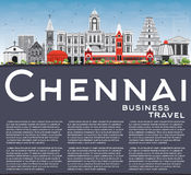 Chennai Skyline with Gray Landmarks, Blue Sky and Copy Space. Royalty Free Stock Images