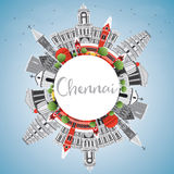 Chennai Skyline with Gray Landmarks, Blue Sky and Copy Space. Stock Photos
