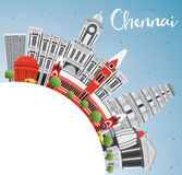 Chennai Skyline with Gray Landmarks, Blue Sky and Copy Space. Royalty Free Stock Image