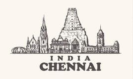 Chennai-Skyline, Indien-Weinlesevektorillustration, Handgezogene Tempel lizenzfreie abbildung