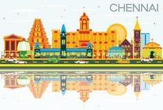 Chennai-Skyline mit Farbmarksteinen, blauem Himmel und Reflexionen vektor abbildung