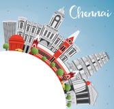 Chennai-Skyline mit Gray Landmarks, blauem Himmel und Kopien-Raum stock abbildung