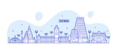 Chennai-Skyline Tamil Nadu-Indien-Stadtvektorlinie lizenzfreie abbildung